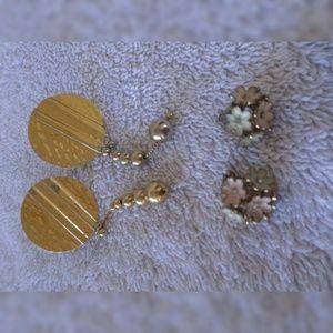 3 pair vintage earrings